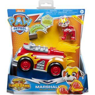 Paw Patrol Marshall Mighty Pups Super Paws prabangi mašina su garsais ir šviesomis bei figūrėlė Marshall