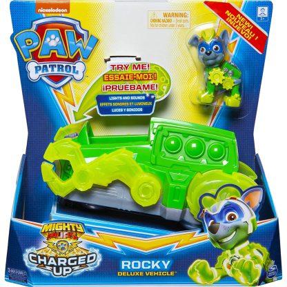 Paw Patrol Transporto priemonė Charged Up su figūrėle Rocky